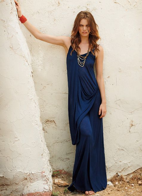 Drape Front Racerback Maxi Dress by Michael Stars | Favor Style ...