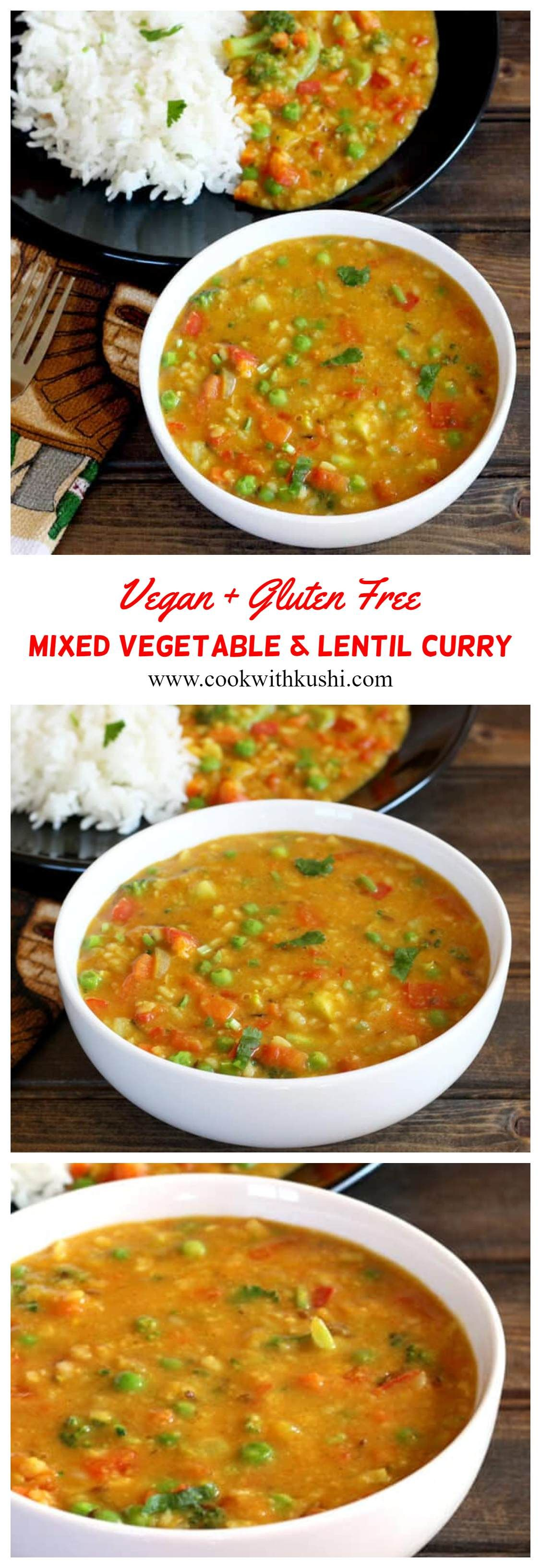Mixed Vegetable Dal or Vegetable Curry or Lentil Curry is a healthy, nutritious, protein packed vegetarian or vegan recipe that is an great alternative to traditional dal. This dish can be prepared in less than 25 minutes and served with any breads like NAAN, ROTI, CHAPATI or rice items such as steamed rice, JEERA RICE or GHEE RICE for lunch or dinner.