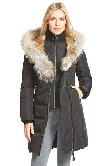 723a01374 MACKAGE Hooded Long Down Coat With Genuine Rabbit & Coyote Fur Trim ...