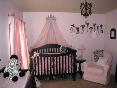 elegant pink and black princess baby girl nursery w zebra print decor crib crown and - Baby Girl Bedroom Decorating Ideas