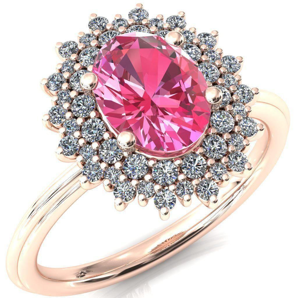 Eridanus Oval Pink Sapphire Cluster Diamond Halo Wedding Ring ...
