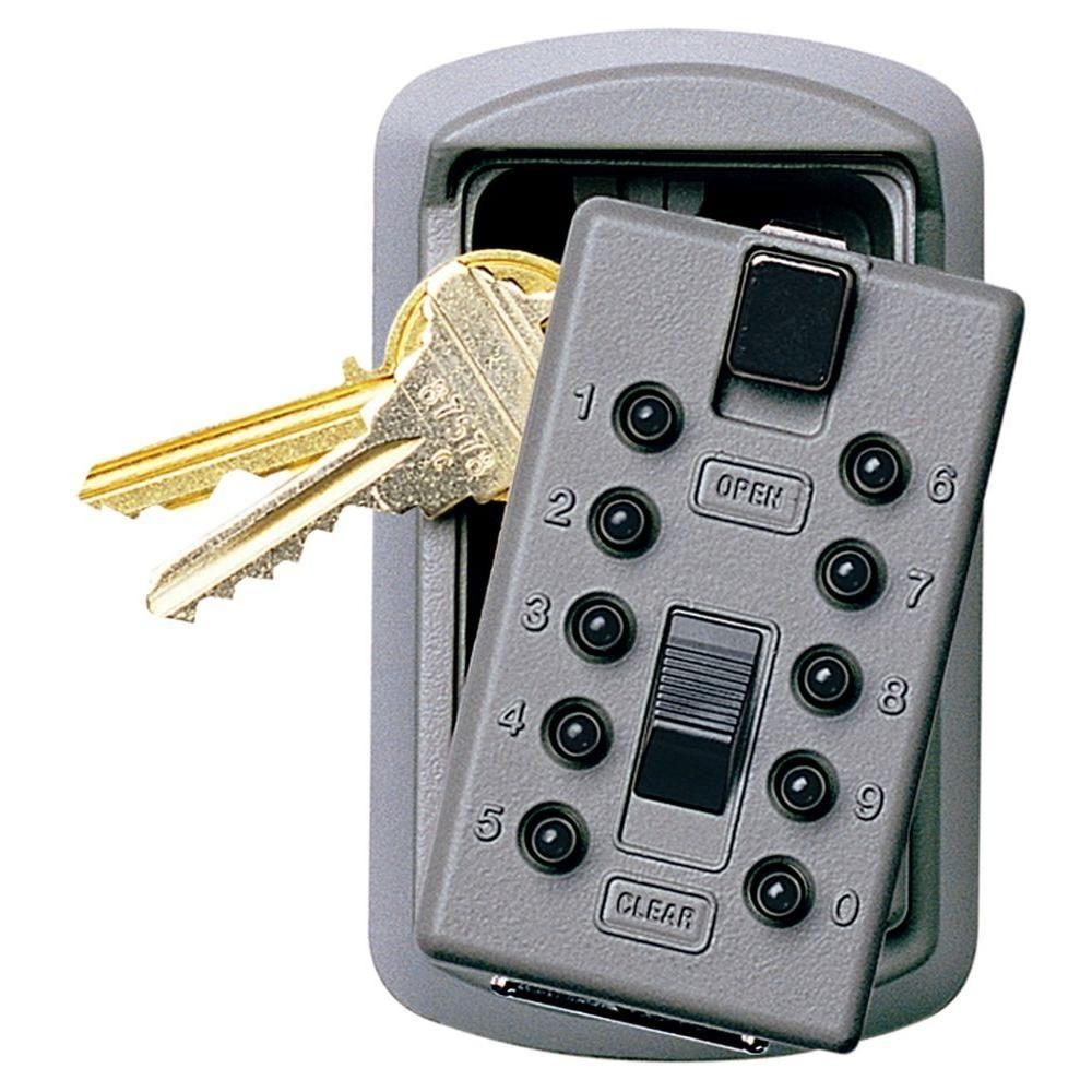 Kidde Slimline 2Key Lock Box with Pushbutton Lock, Clay