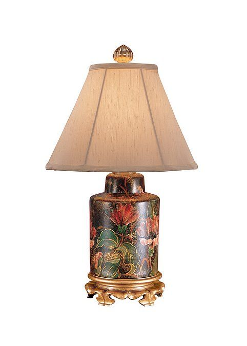 Wildwood Night Flowers Lamp 5689. Hand painted lacquer on ...