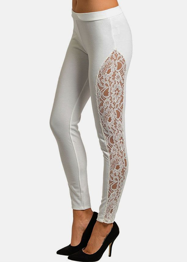5b4dd2b89d9cd Cheap Trendy White Leggings with Floral Lace Side Panel in Leggings ...