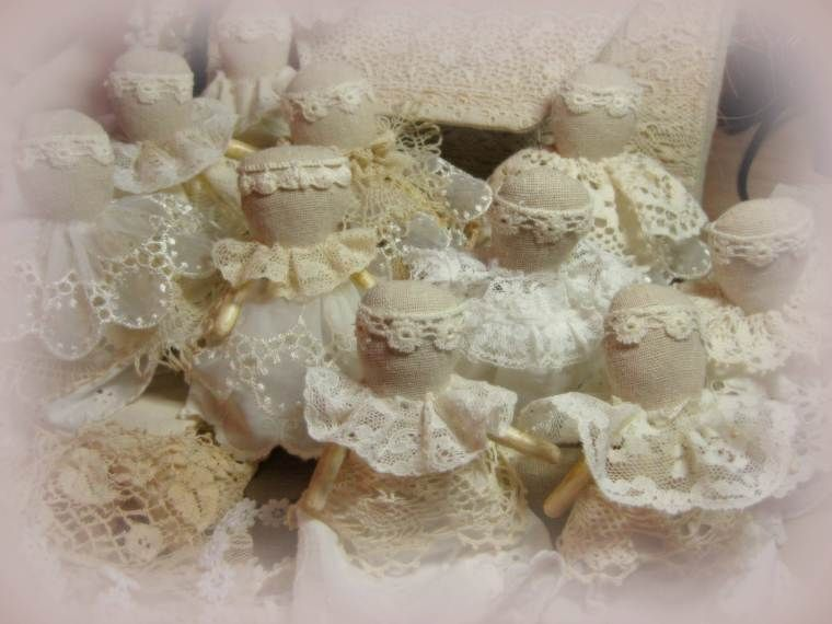 Bunch of Angels using vintage lace and linens