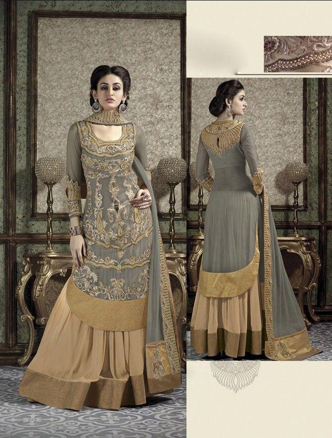 Grey Net Skirt Designer Suit with Dupatta