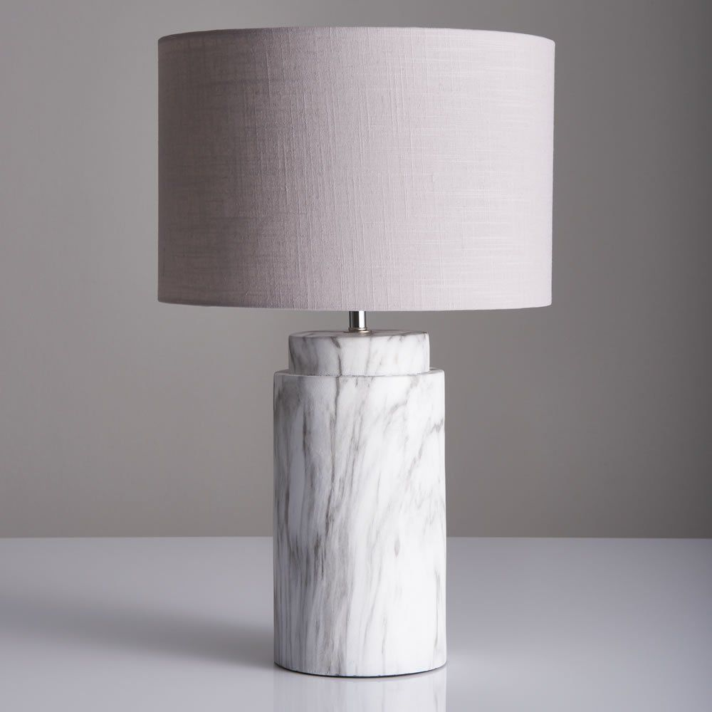 Grey Faux Linen Waste Paper Bin Marble Table Lamp Table Lamps