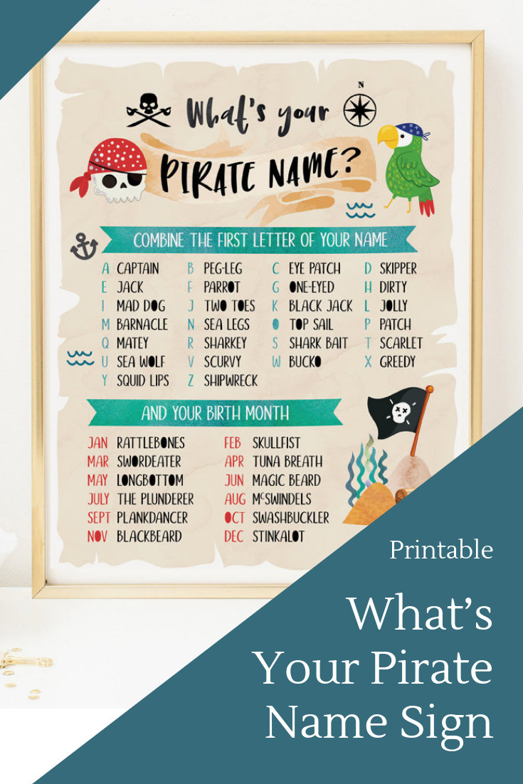 This is an image of Eloquent What's Your Pirate Name Printable