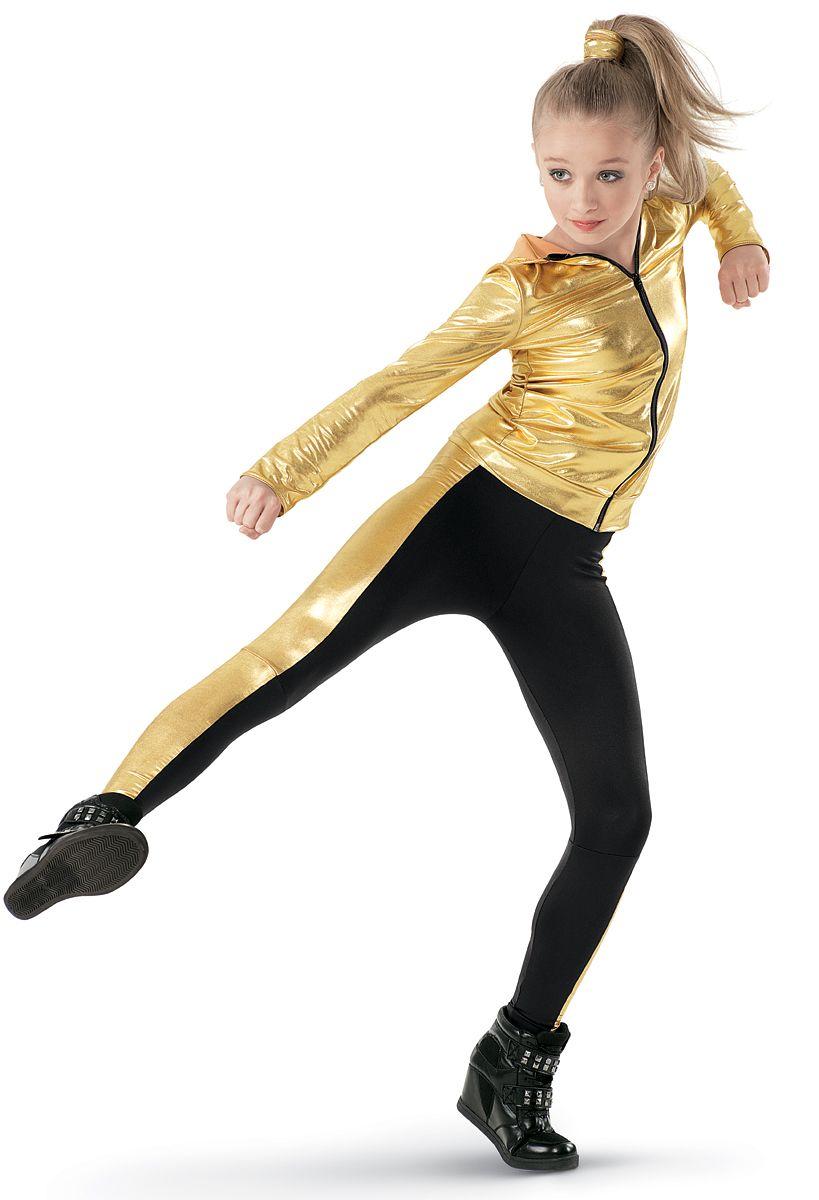 weissman™  metallic jacket  color block leggings  dance
