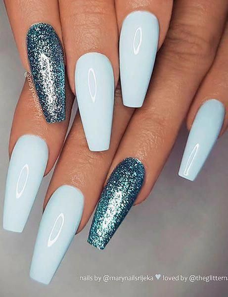Try this trending shades of pale and iced blue nail  polish for  a cool look. …