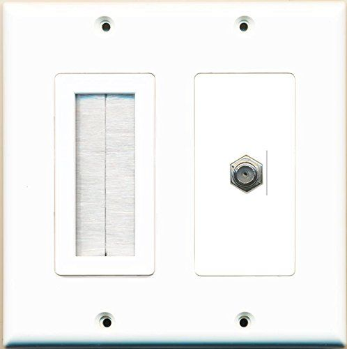 Amazon Com Riteav Mesh Brush Coax Cable Tv Wall Plate Dual 2 Gang Decorative White Electronics Plates On Wall Tv Wall White Walls