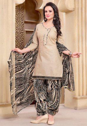 Printed Cotton Punjabi Suit in Beige   Dream closet: indian ...