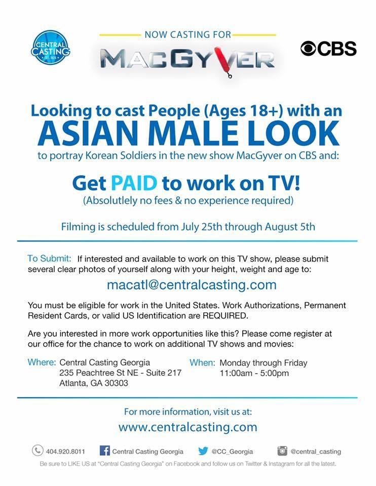 Central Casting Georgia **CASTING TV SHOW MACGYVER** Casting Asian