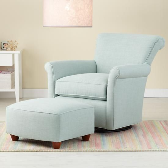The Land Of Nod Nursery Gliders Blue Swivel Glider Chair And Ottoman In Rockers