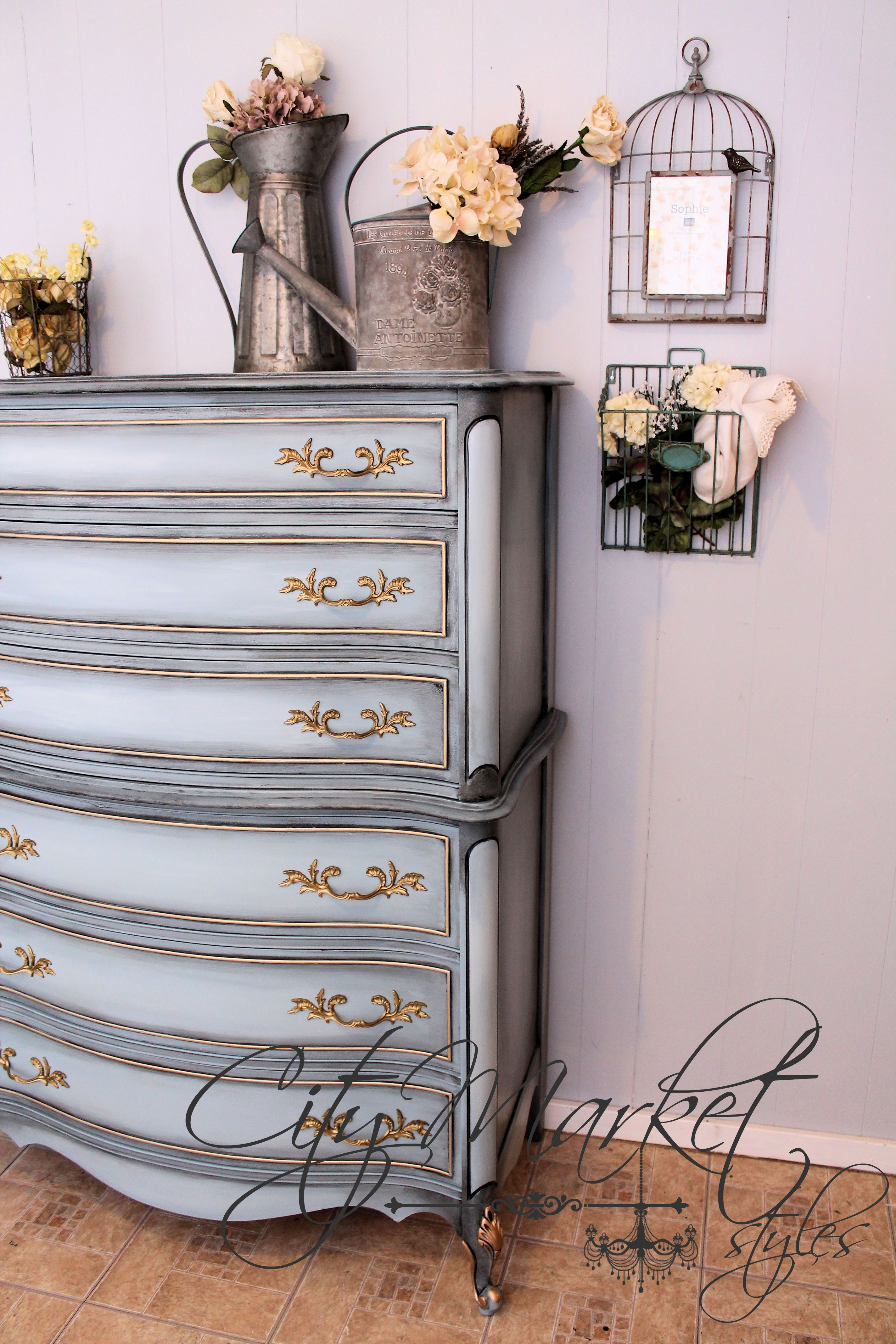 Painted french provincial chest of drawers in stormy cove