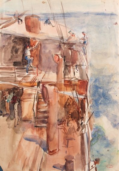 Artwork by Isaac Israëls, Heading for the Dutch East-Indies, Made of watercolour on paper, unframed