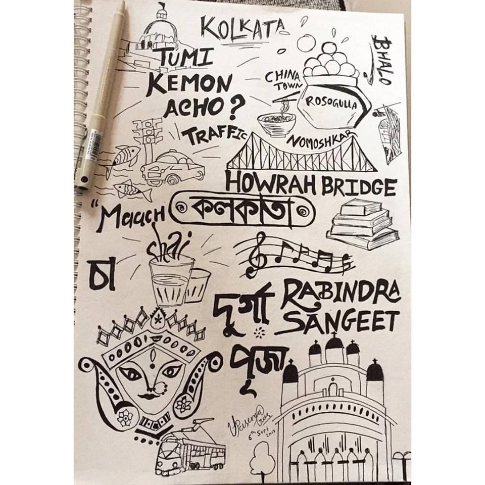 Kolkata doodle doodles doodlesindia in 2019 unity in art