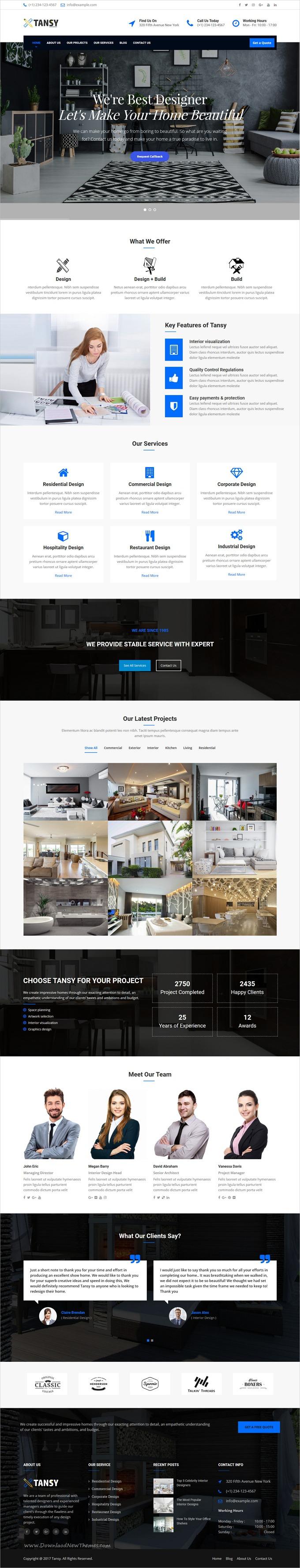 Tansy - Minimal Interior Design Agency WP Theme | Pinterest | Design ...