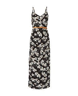 Petite Black Floral Print Belted Maxi Dress   New Look