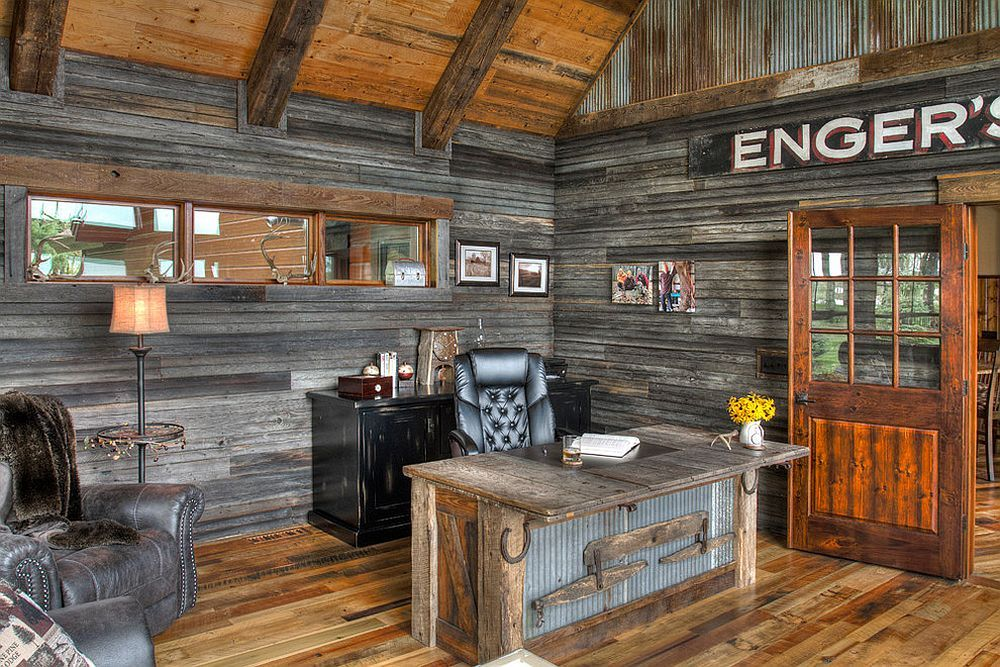 25 ingenious ways to bring reclaimed wood into your home office home office designoffice designsrustic