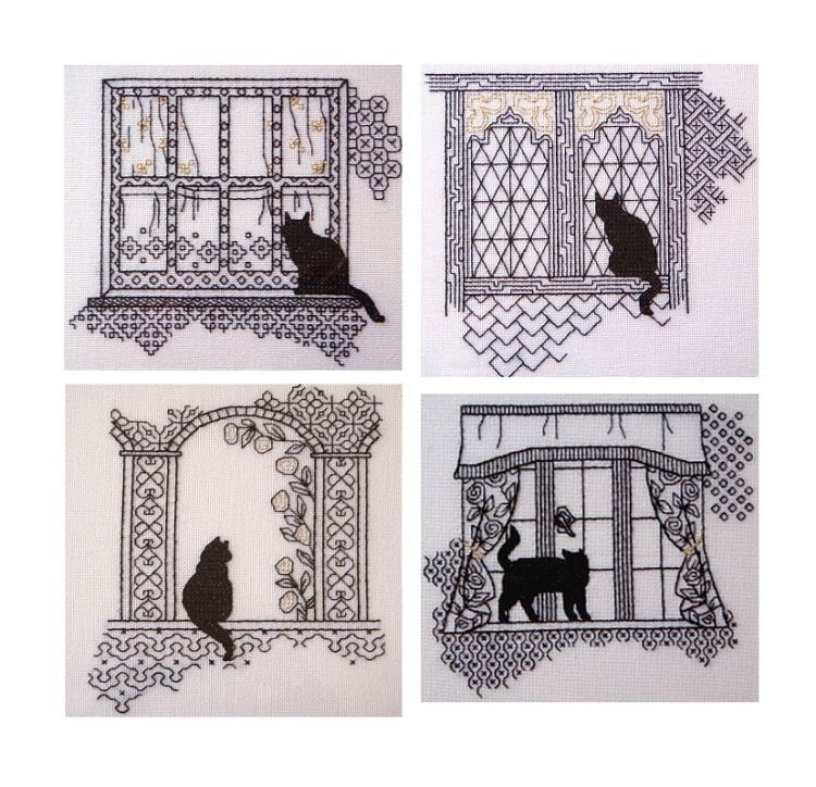 Gallery.ru / Фото #1 - Кошки на окошках. - irinika blackwork cat on ...