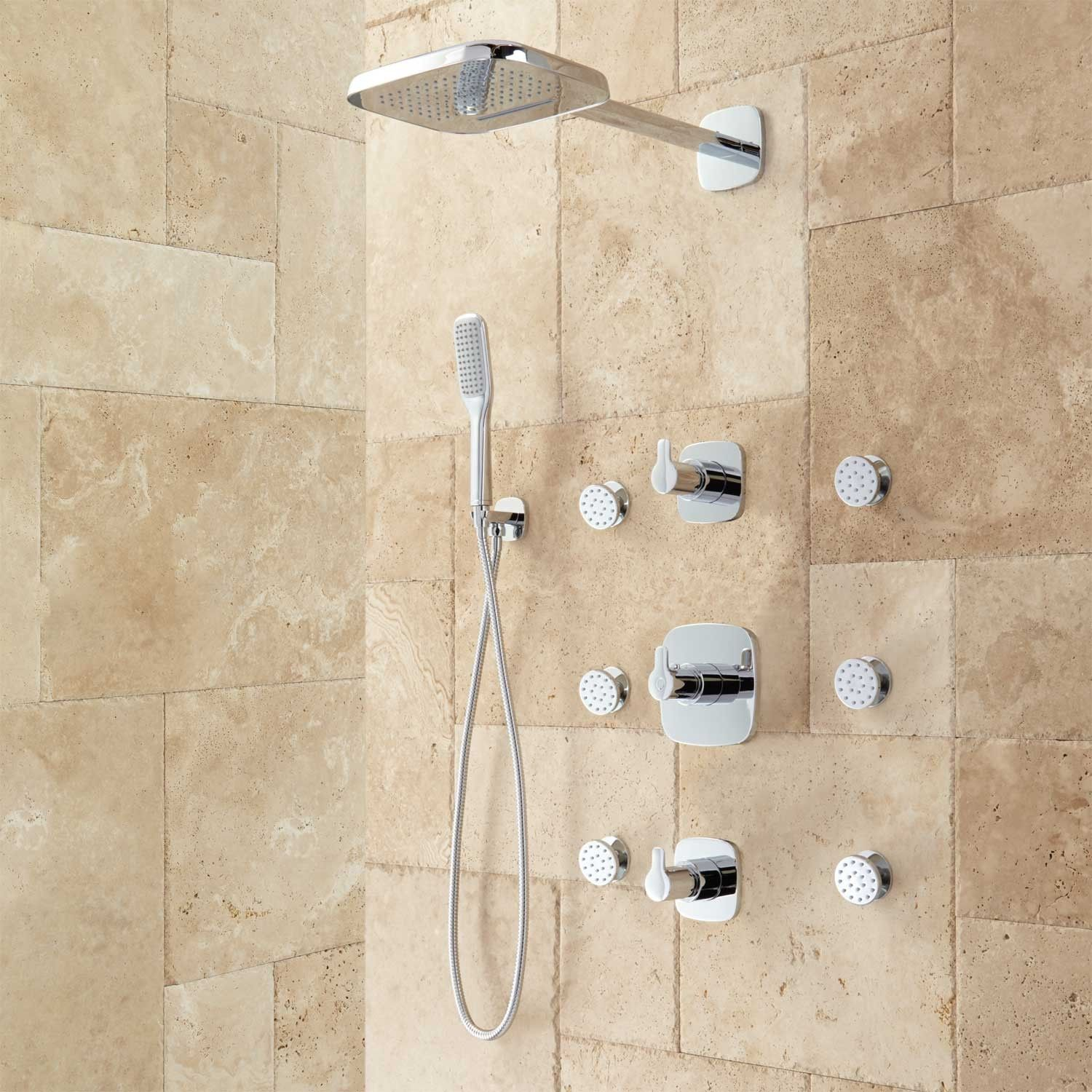 Arin Thermostatic Shower System With Hand Shower 6 Jets Shower