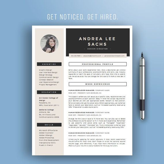 Resume Template Instant Download  Creative Cv Template  Modern