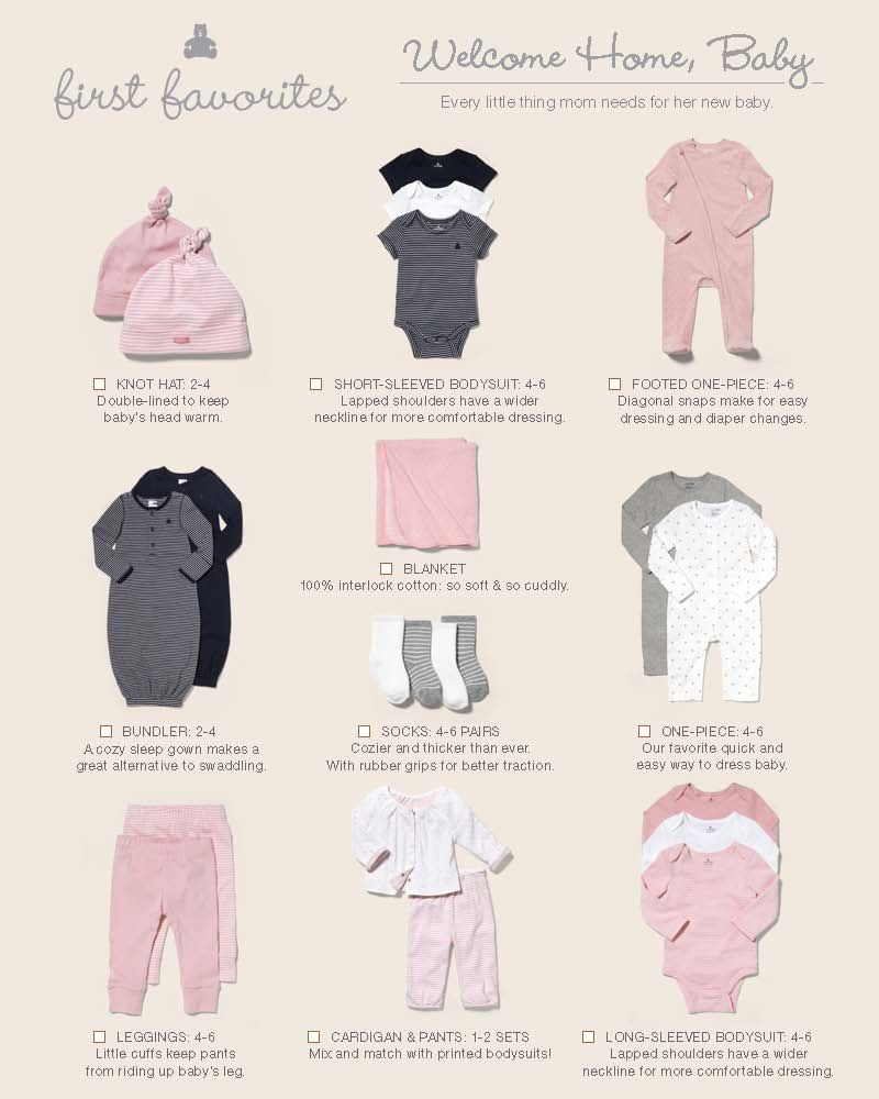 Newborn clothes take-home list- from www.thegap.com  Baby outfits