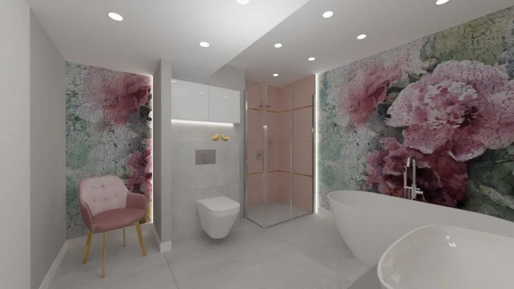 Lazienka Aranzacja Eleganckiej Lazienki Z Fototapeta W Malownicze Kwiaty W Roli Glownej Bathroom Bathtub