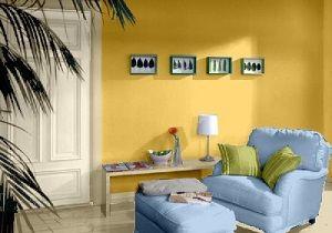 Farbgestaltung für ein Wohnzimmer in den Wandfarben: Gelb/Blau/Grün ...