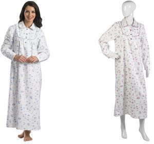 Ladies Slenderella Brushed Cotton Floral Ankle Length Nightdress (Blue or  Pink) 115efb0a8