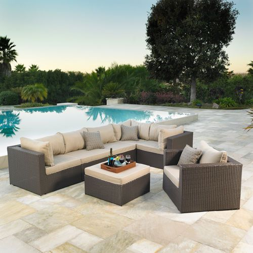 Newport 7 Piece Patio Modular Deep Seating Collection By