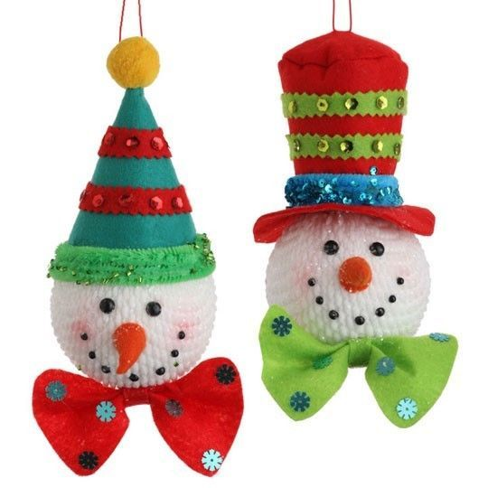 Snowman Head Christmas Ornaments set of 2 75 inch sd3220000 NEW RAZ