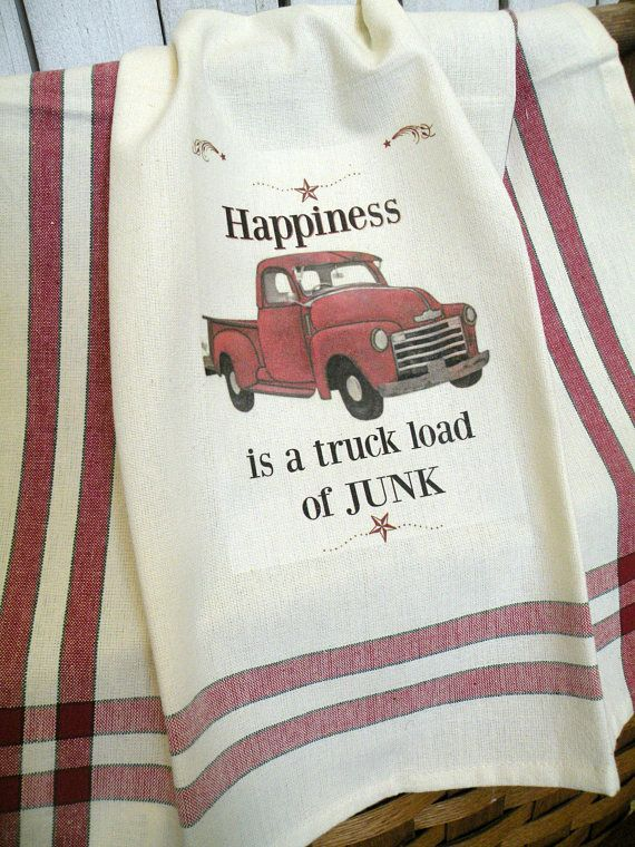 Old Red Truck Kitchen Towel Vintage Style Junking Shabby Prairie Farmhouse Ecs Rdt Fvgteam Red Truck Old Red Truck Little Red Truck