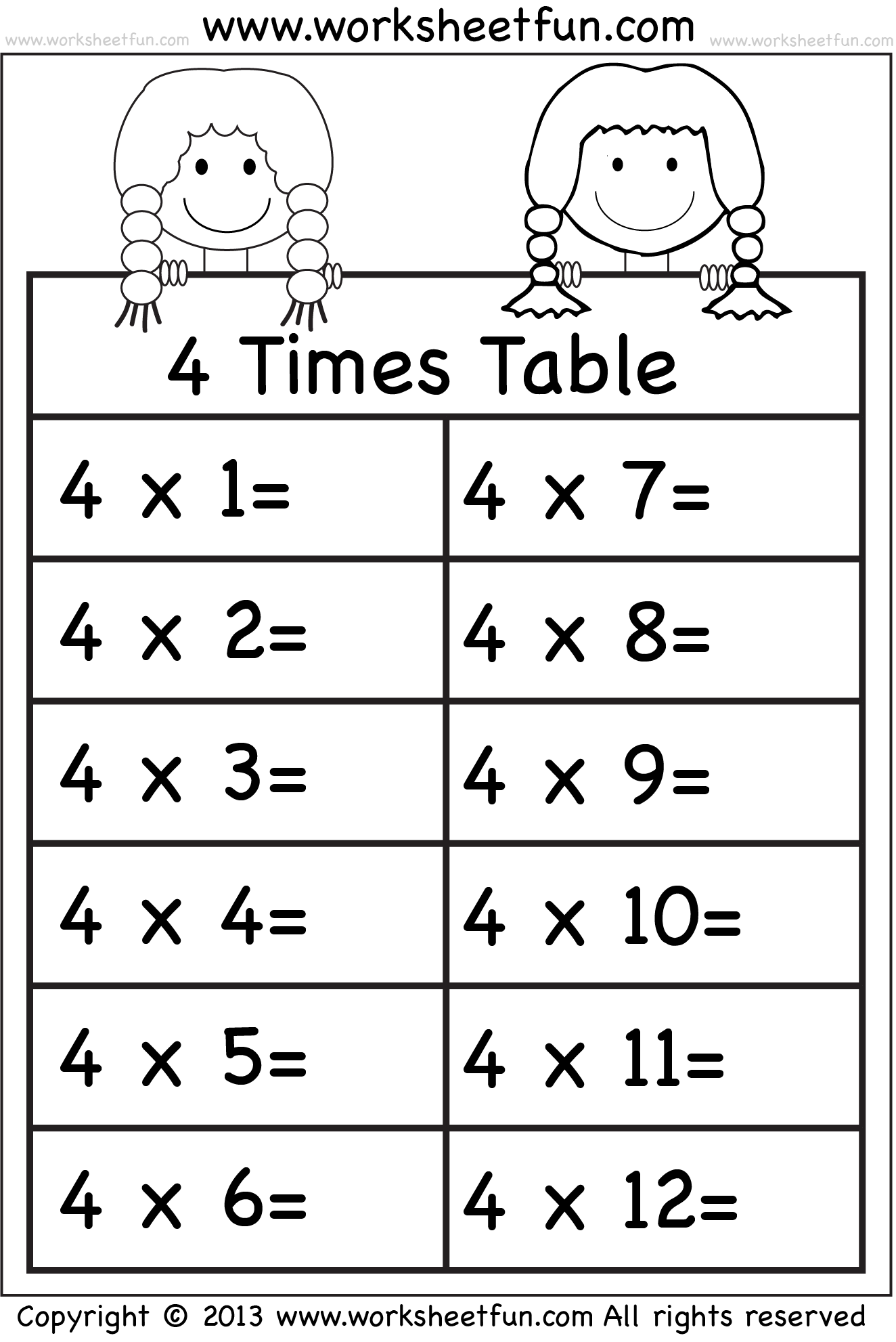 4 Times Table Montessori Pinterest Times Tables Worksheets