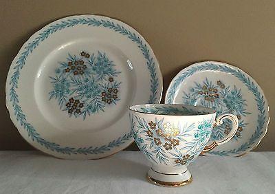 Tea Cup Saucer Plate Set - Tuscan Fine English Bone China - Blue Gold Leaf & Tea Cup Saucer Plate Set - Tuscan Fine English Bone China - Blue ...
