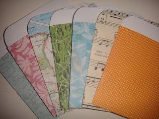 Create your own library pockets with old paper, books, sheet music, or scrapbook paper.