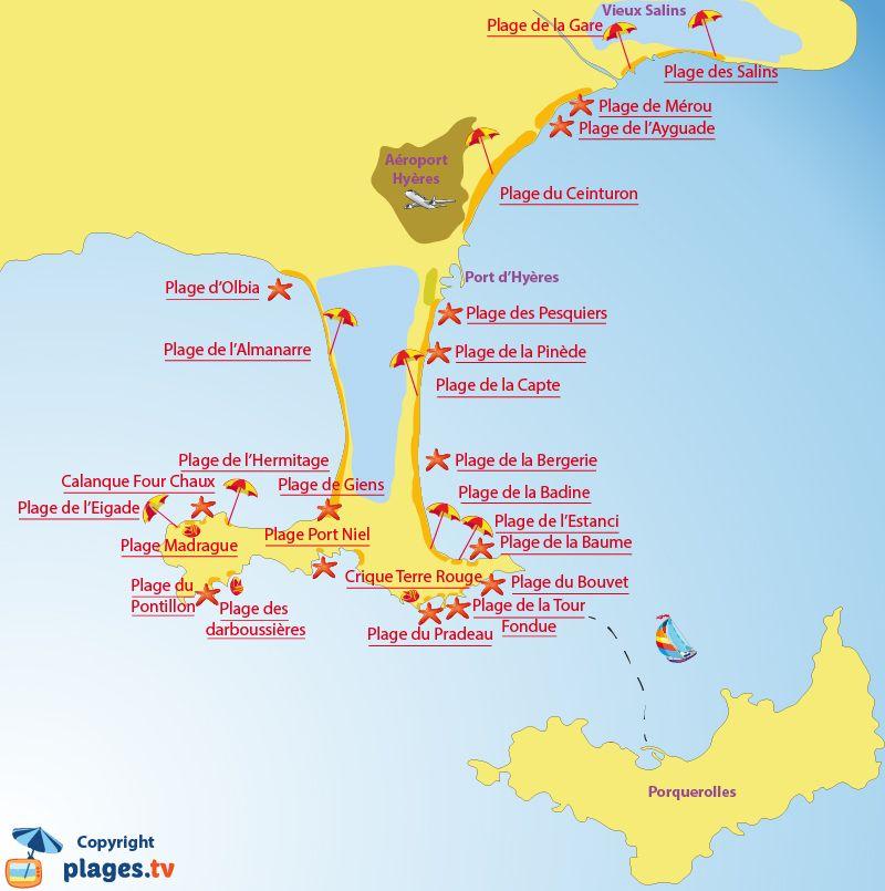 carte presqu île de giens Plan des plages à Hyères et sur la presqu'île de Giens (avec
