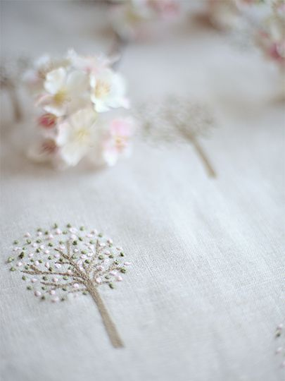 French Orchard Hand Embroidered Linen by Peony and Sage. Www.peonyandsage.com