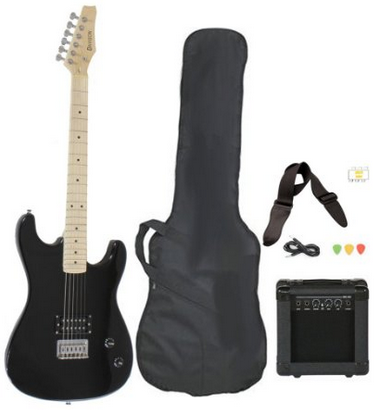 Full Size Black Electric Guitar with Amp, Case and Accessories Pack Beginner Starter Package – $89.9 #electricguitars