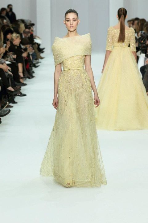 beautiful, elegant Elie Saab dress in pale yellow with a simple wrap around the shoulders