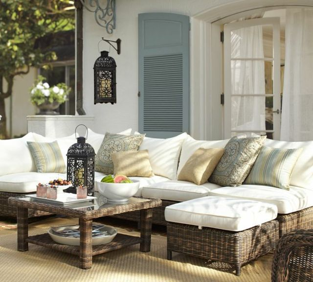 outdoor sofa rattan patio rattanm bel deko kissen obstschalen landhausstil haus terrasse. Black Bedroom Furniture Sets. Home Design Ideas