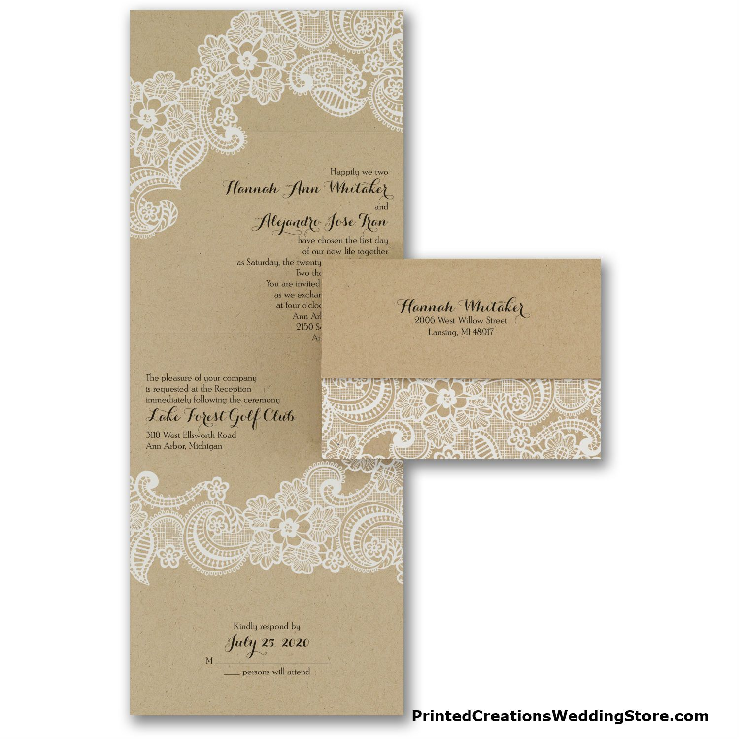 Lacy Accents Seal \'n Send Invitation - the look of romantic white ...