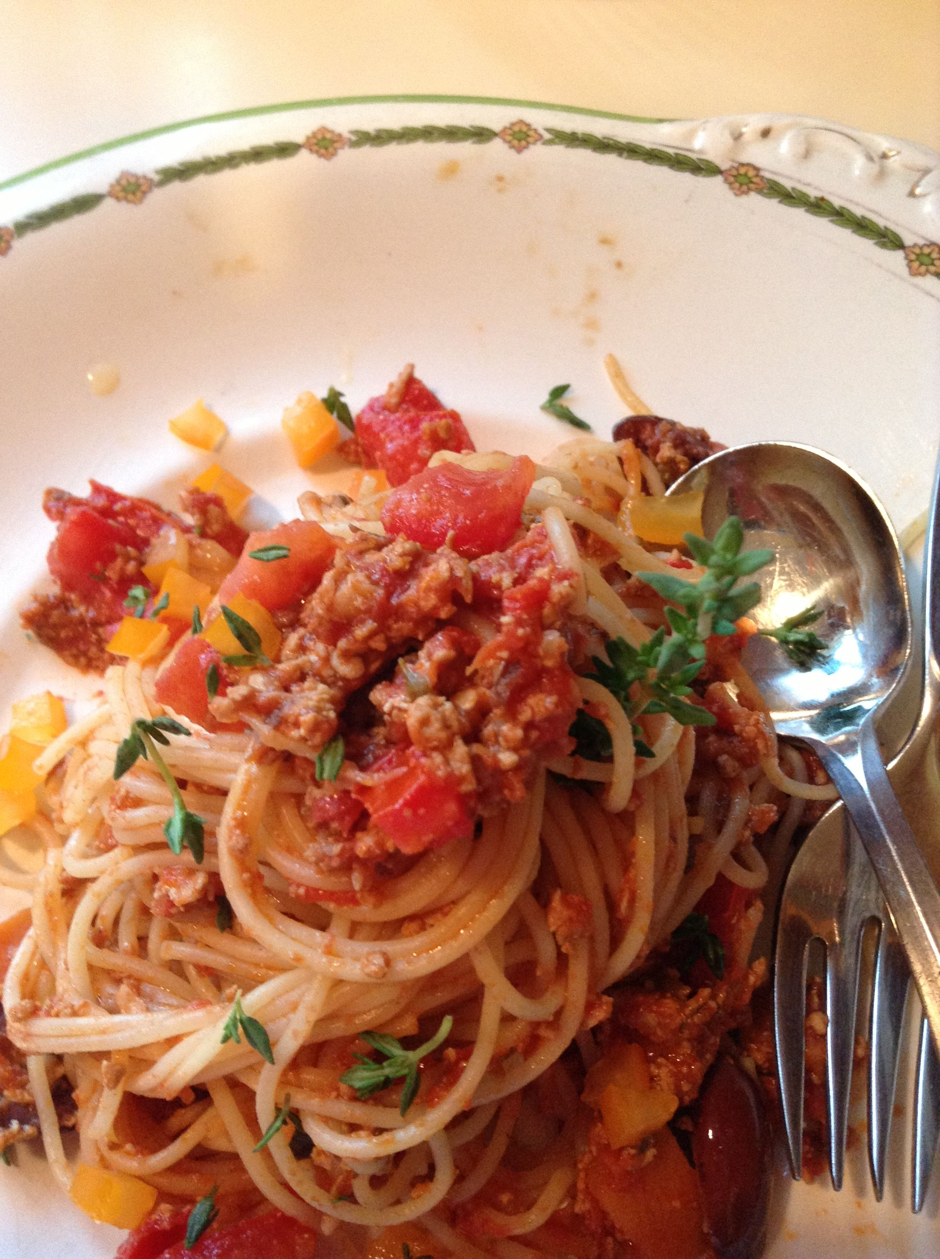 Capelini bolognese vegan gf lowresidue lowresidue diet