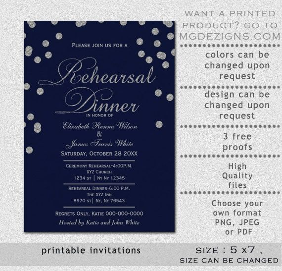PRINTABLE navy Blue Silver Rehearsal Dinner Invitation Template - dinner invitation template