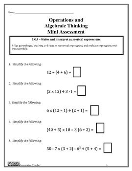 Operations And Algebraic Thinking Essments Grade 5 Oa 1 2 By Innovative Teacher