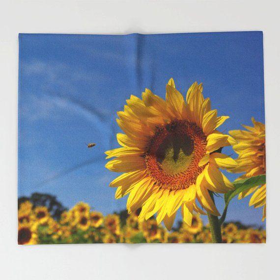 Sunny Sunflower Throw Blanket Yellow Gold Fleece Throw Blue Sky