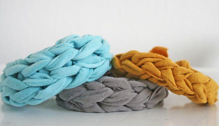 Finger Knit Jersey Bracelets from old t-shirts