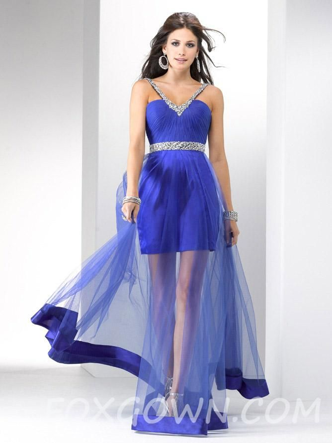 royal blue glamorous beaded illusion organza prom dress $170 ...