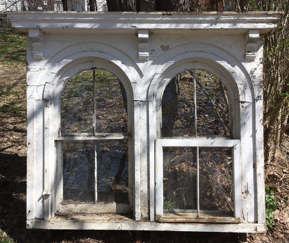 Complete 1850 Antique Double Arched Victorian Window Pediment